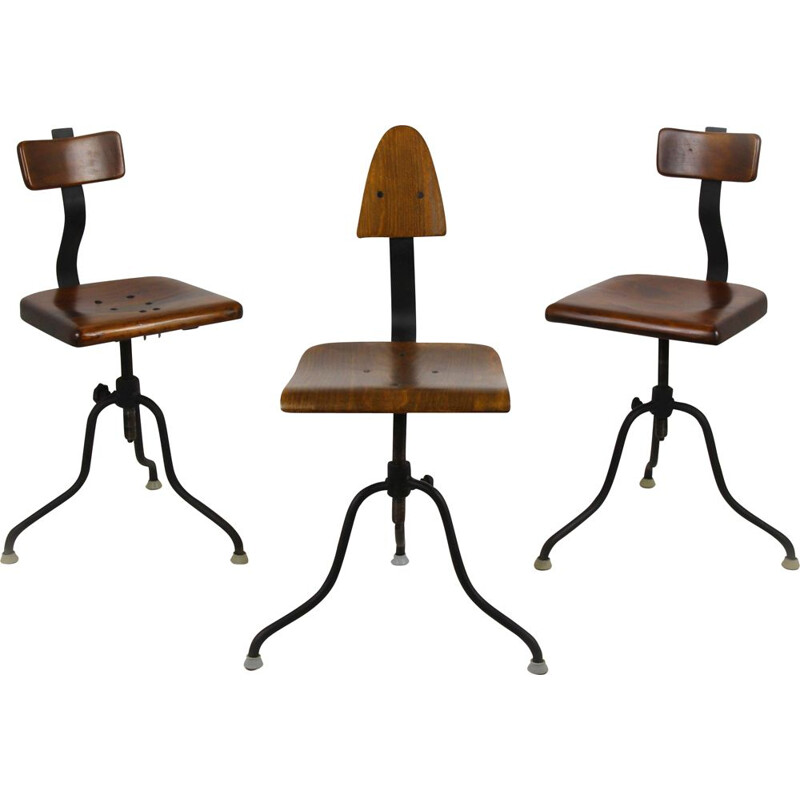 3 vintage swivel chairs, Czechoslovakia,1940