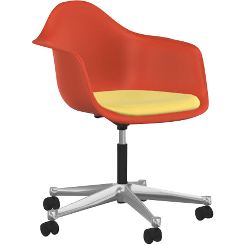 """Plastic Armchair PACC"" desk chair with seat upholstery by Charles and Ray Eames for VITRA"