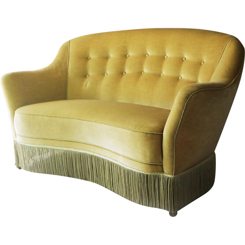 Vintage danish 2 seater sofa in velvet from the 50s