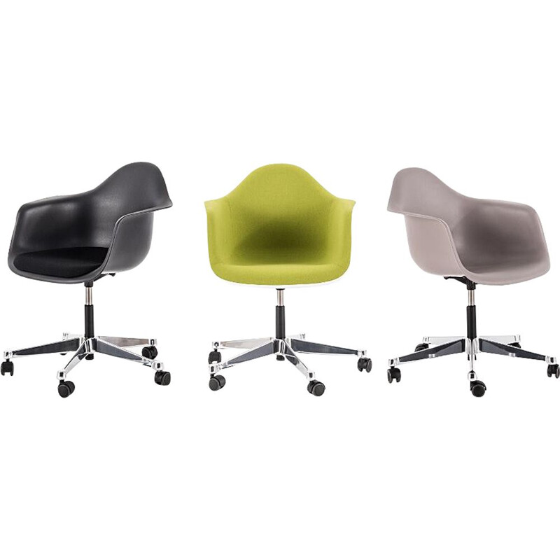 """Plastic Armchair PACC"" desk chair with full upholstery by Charles and Ray Eames for VITRA"
