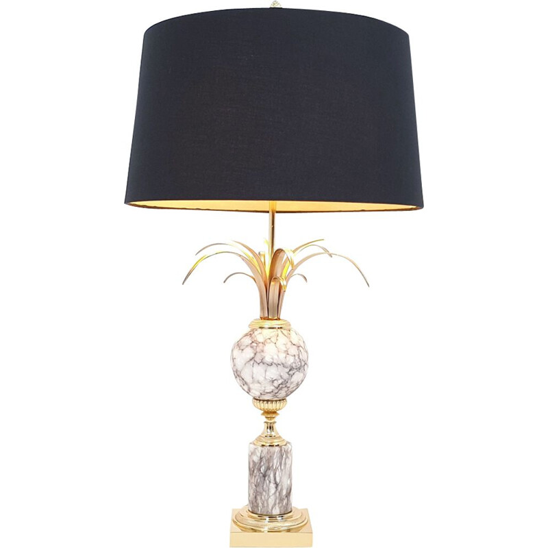 Vintage palm lamp hollywood regency marble and brass by the Maison Boulanger