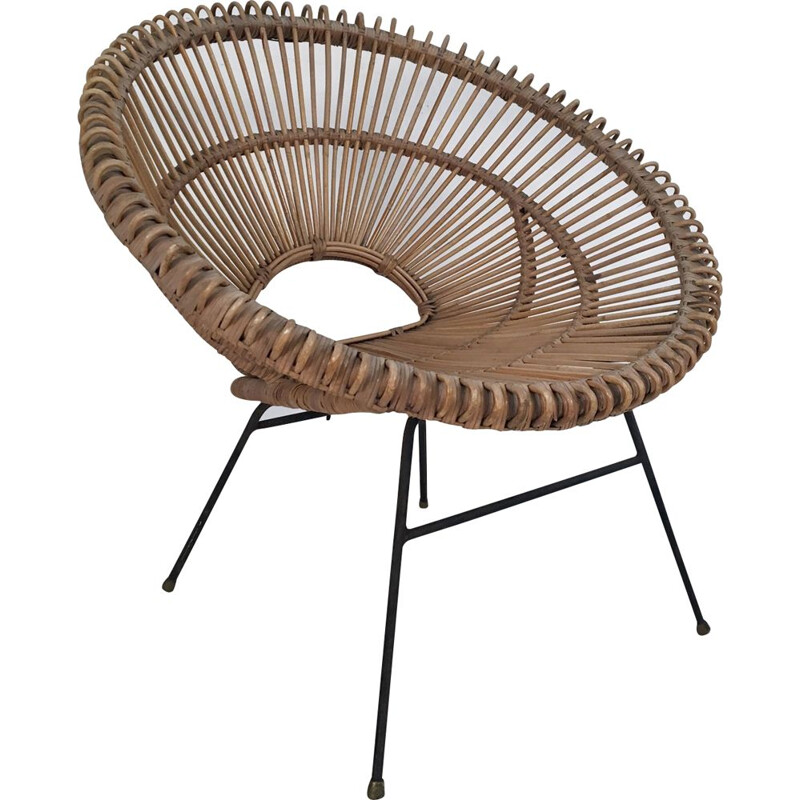 Italian vintage armchair in bamboo and wicker