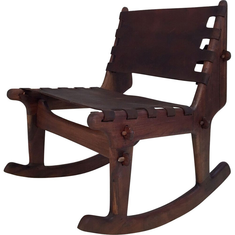 Vintage rocking chair in leather and walnut by Angel Pazmino
