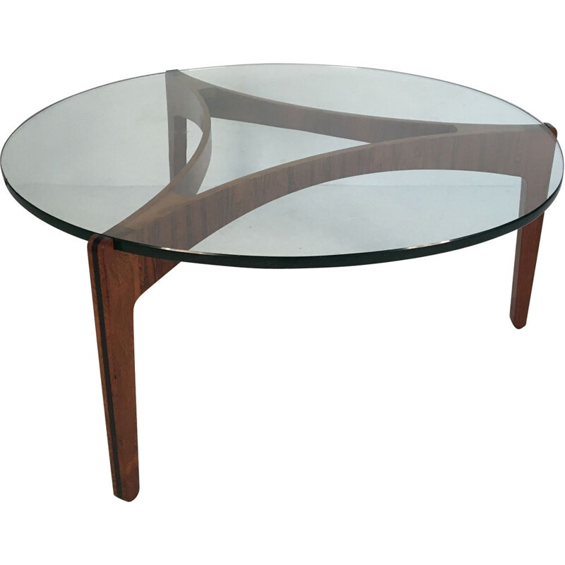 Vintage coffee table in glass and rosewood by Sven Ellekaer