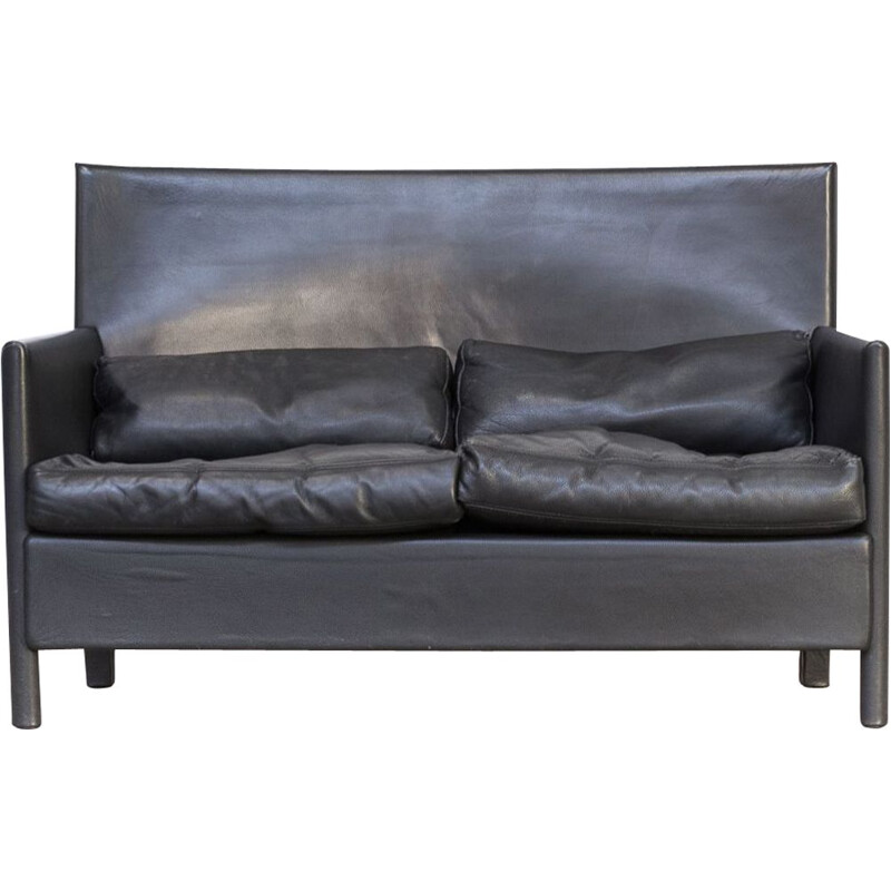 Vintage 2-seater sofa in black leather by Molteni & C