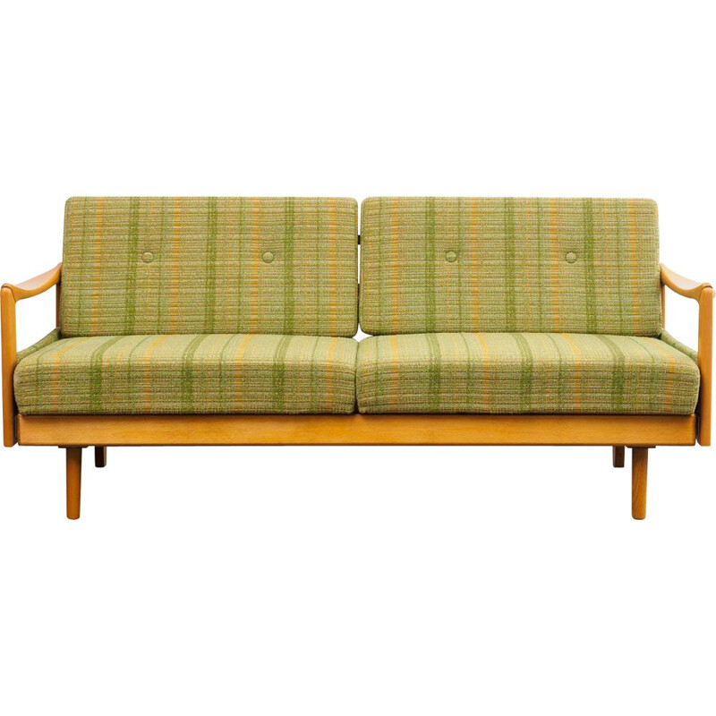 Vintage 2-seater sofa in extensible solid wood,1960