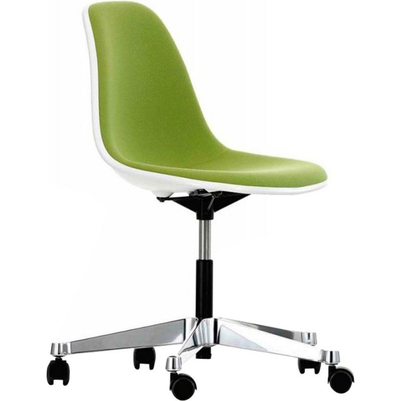 """Plastic Chair PSCC"" desk chair with full upholstery by Charles and Ray Eames for VITRA"