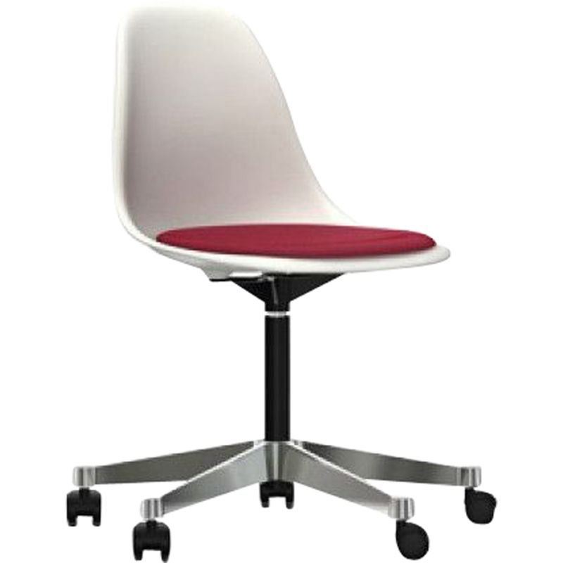 """Plastic Chair PSCC"" desk chair with seat upholstery by Charles and Ray Eames for VITRA"