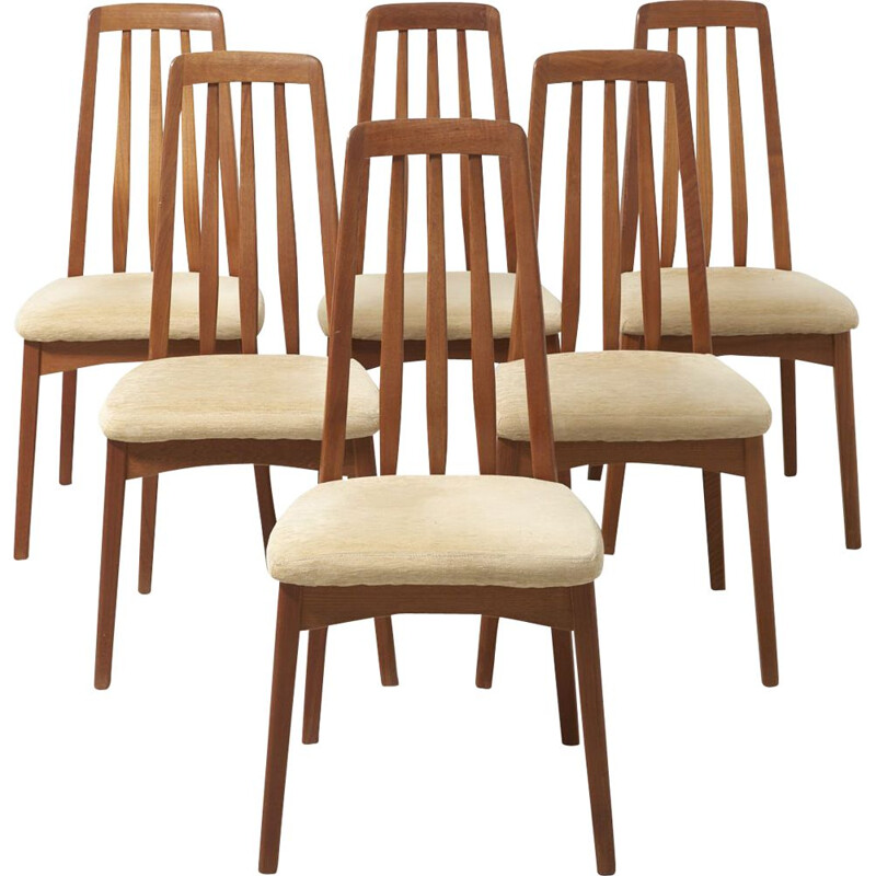 Set of 6 vintage Eva chairs by Niels Koefoed in teakwood and velvet 1960s