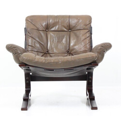 Leather cushion armchair in leather and wood Westnofa, Ingmar RELLING - 1970s