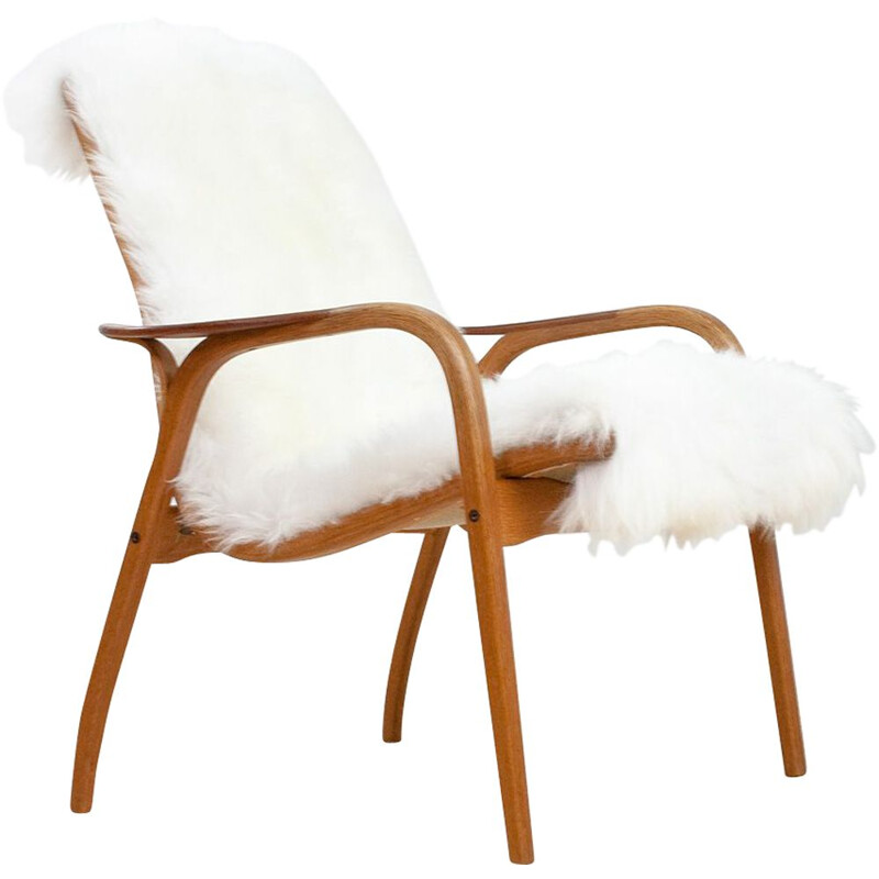 Vintage lounge chair by Yngve Ekström in oak & sheepskin, Scandinavian 1951