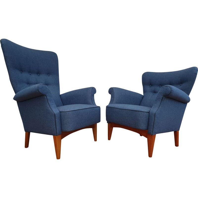 Set of 2 vintage danish armchairs for Fritz Hansen in blue fabric and beech 1960s