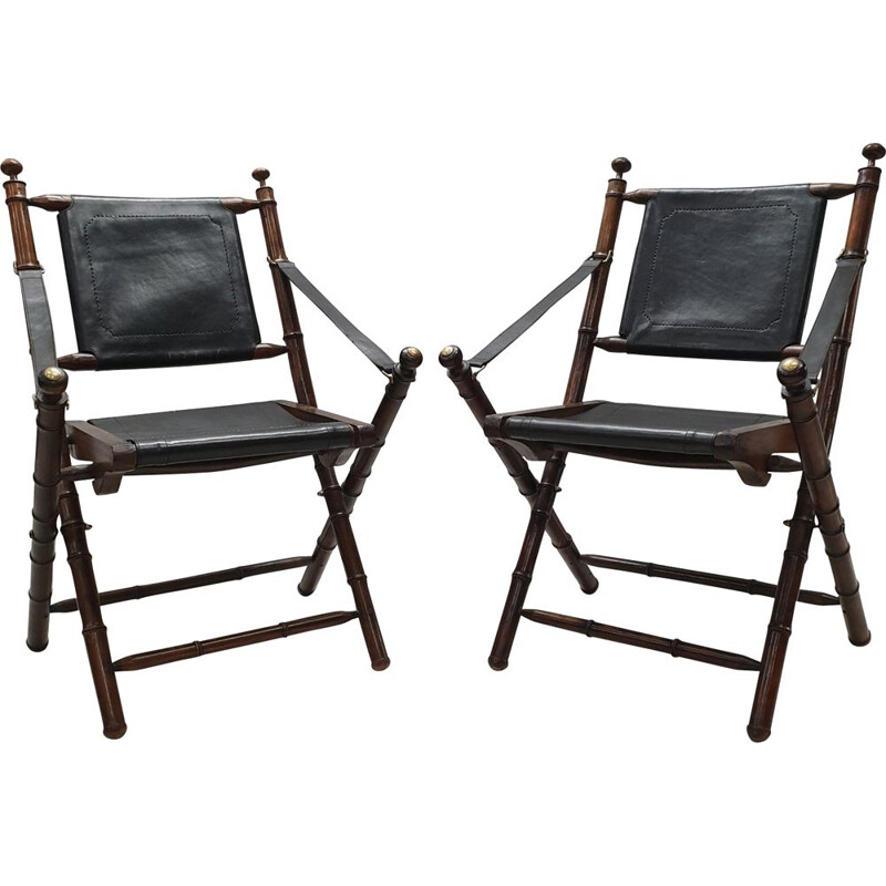 Set of 2 vintage folding chairs in black leatherette and teak 1980