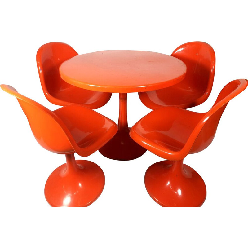 Vintage garden set Tulip table with 4 chairs orange 1960s