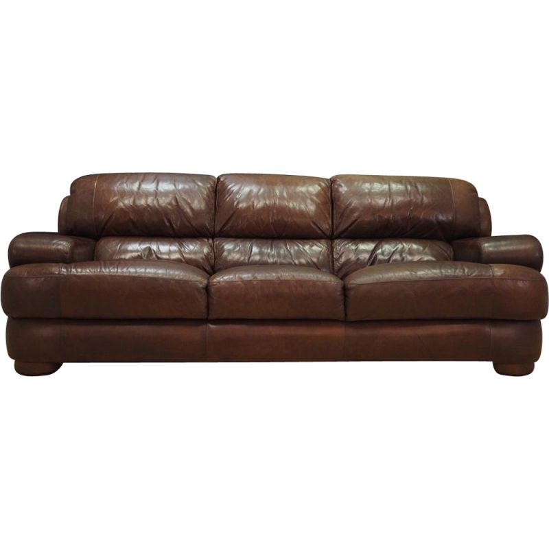 Danish vintage 3-seater sofa in brown leather