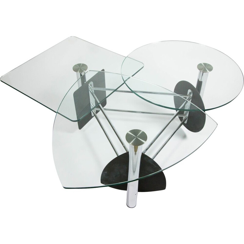 Vintage coffee table in steel and glass