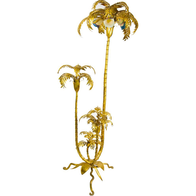 Large vintage Italian golden palm tree lamp, 1950s