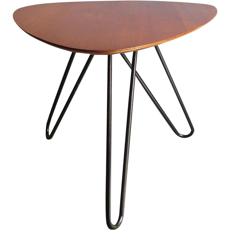 Vintage side table in teak with three black metal legs,1950