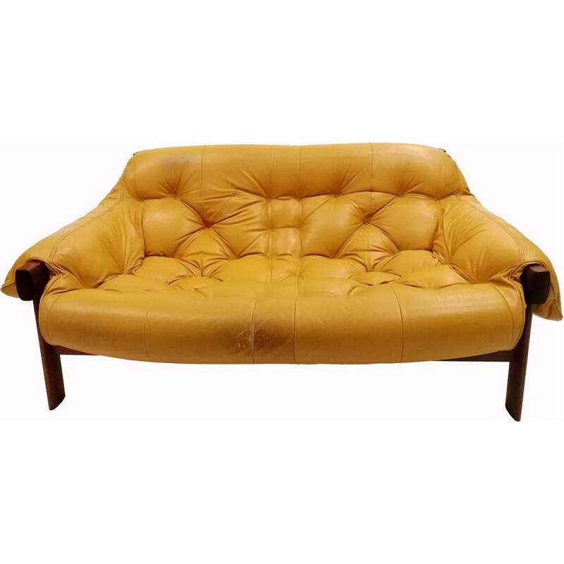 Vintage 2 seater sofa in rosewood and leather by Percival Lafer,1970