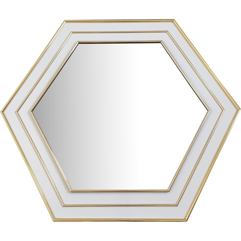 Vintage mirror hexagon white lacquered with gold plating, France 70s