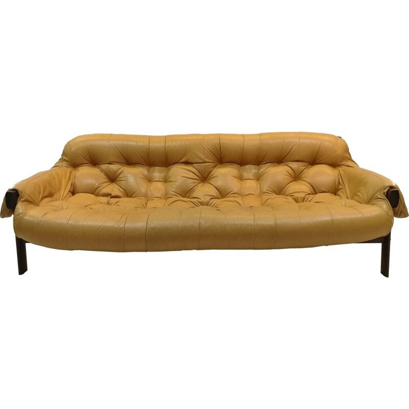 Vintage sofa by Percival Lafer in rosewood and yellow leather 1970s