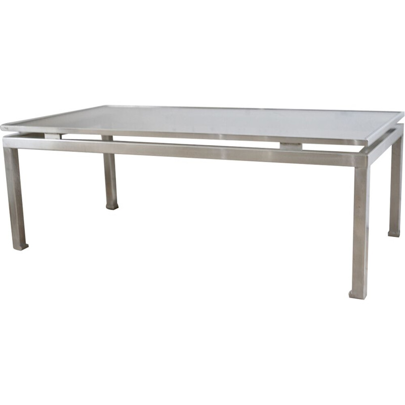 Vintage coffee table for Maison Jansen by Guy Lefevre in steel and smoky glass