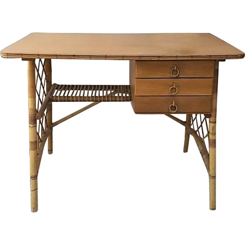 Vintage rattan desk by Louis Sognot 1950