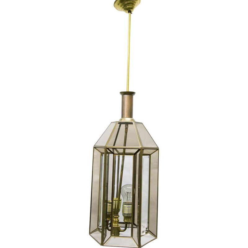 Vintage ceiling lamp in gold glass 1960s