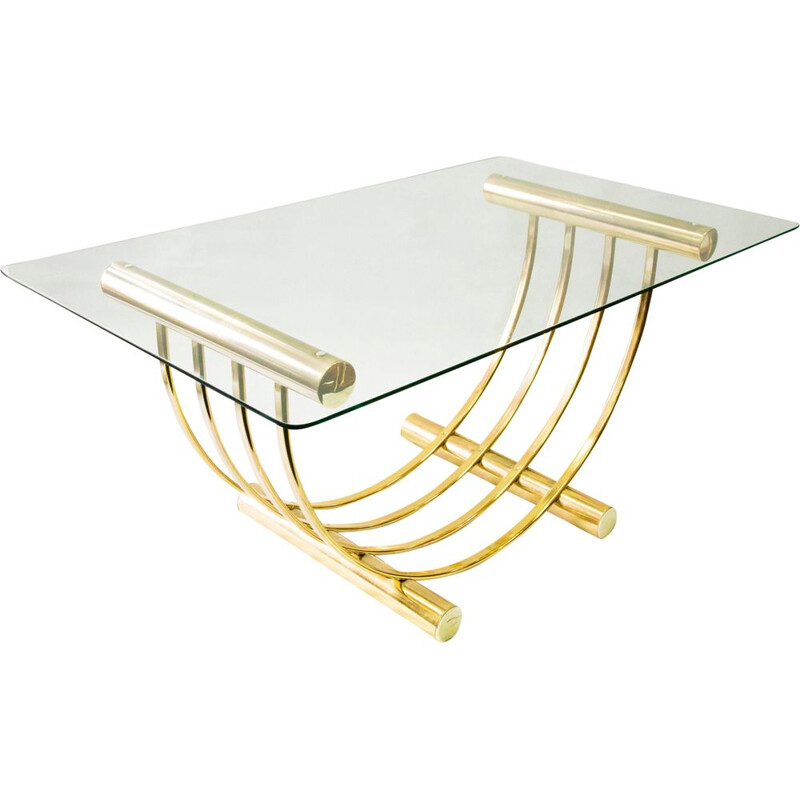 Vintage dining table brass plated with glass top 1960s