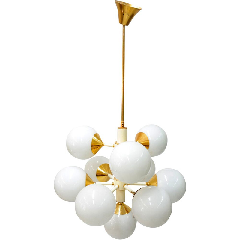 Vintage chandelier white 10 arms 1960s