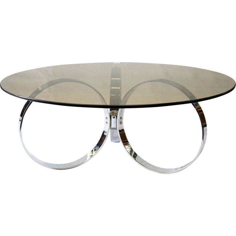 Vintage coffee table glass and chrome plated 1960s