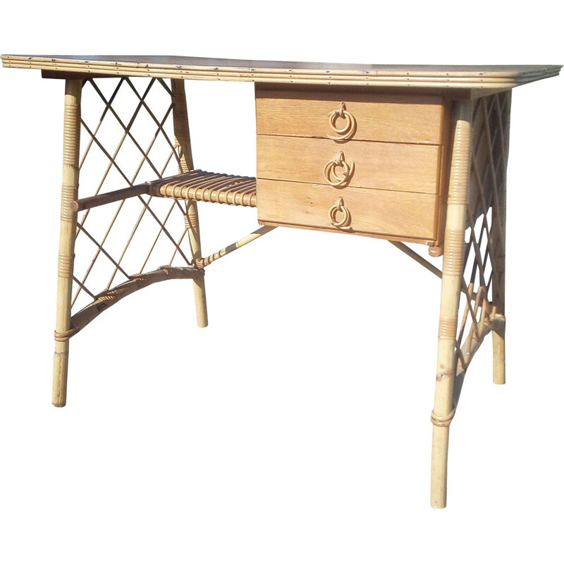Vintage rattan desk by Louis Sognot,1950