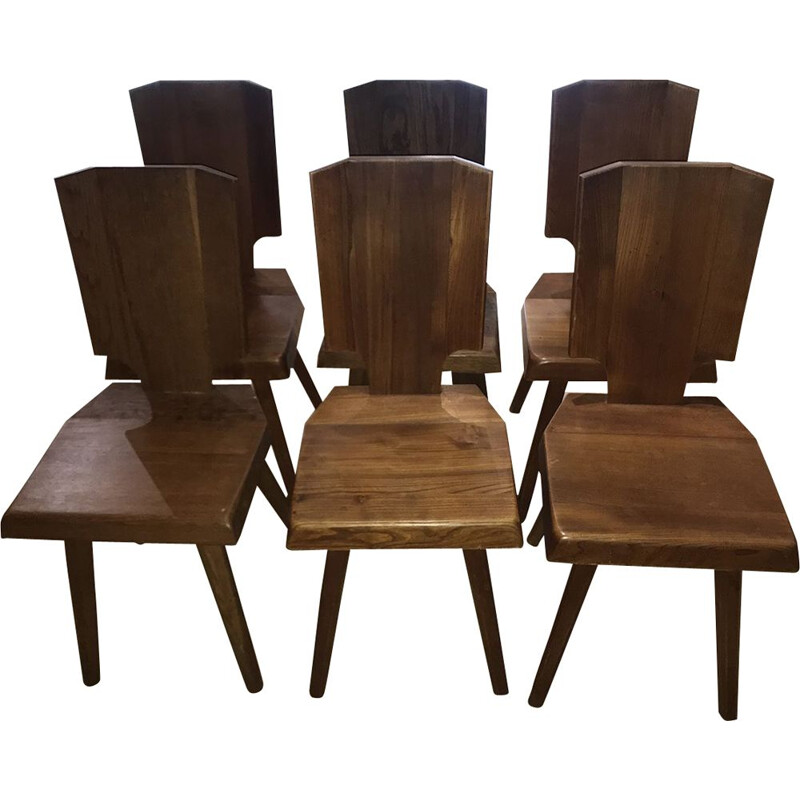 Set of 6 vintage S28A chairs by Pierre Chapo in elmwood 1970s