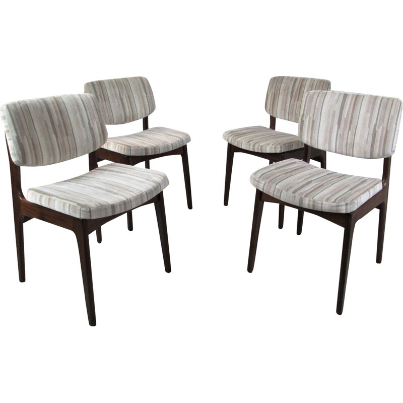 Set of 4 vintage danish chairs in mahogany and grey fabric 1960s