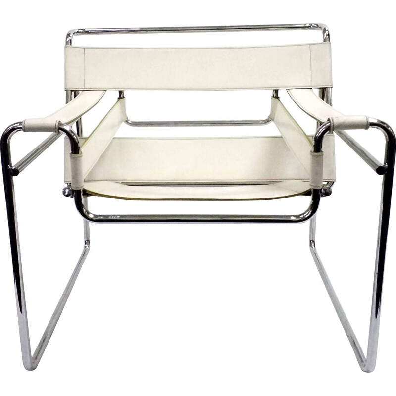 Vintage Wassily chair by Marcel Breuer in white leather and chrome 1970s