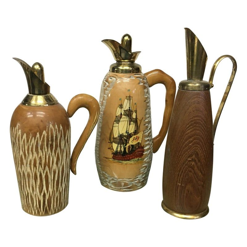 Set Of 3 Vintage Pitchers For Macabo In Wood And Brass 1950s Design Market