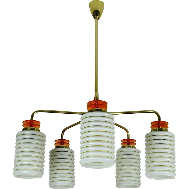 Vintage pendant lamp 5 glass shades 1950