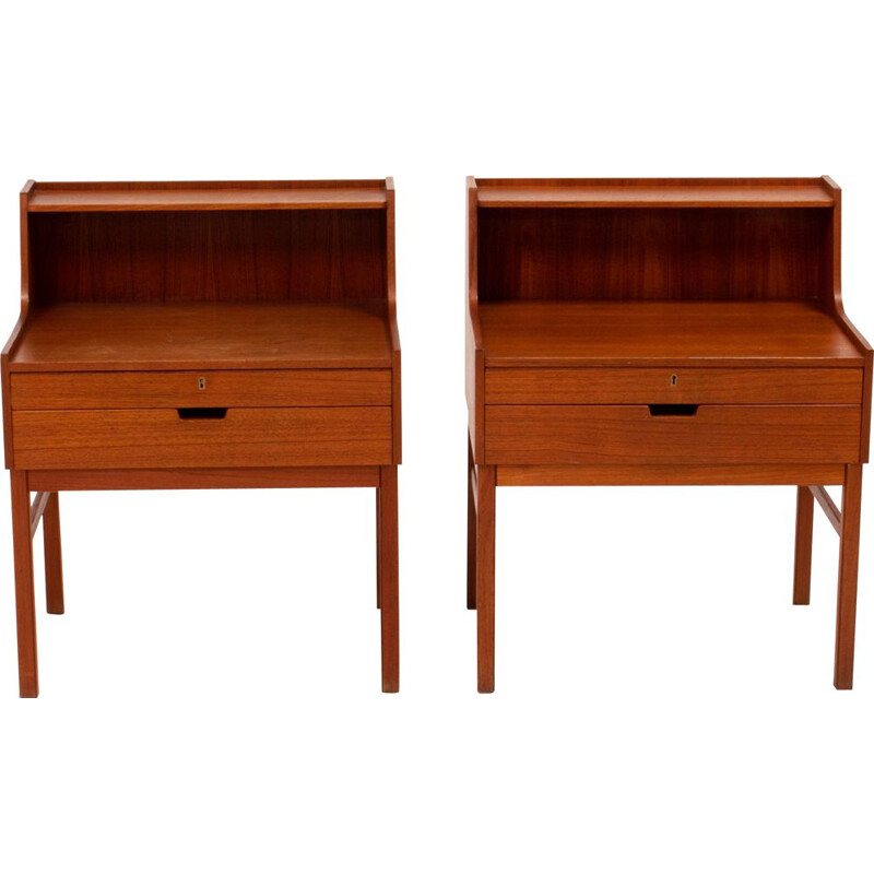 Pair of teak bedside tables by Engström & Myrstrand