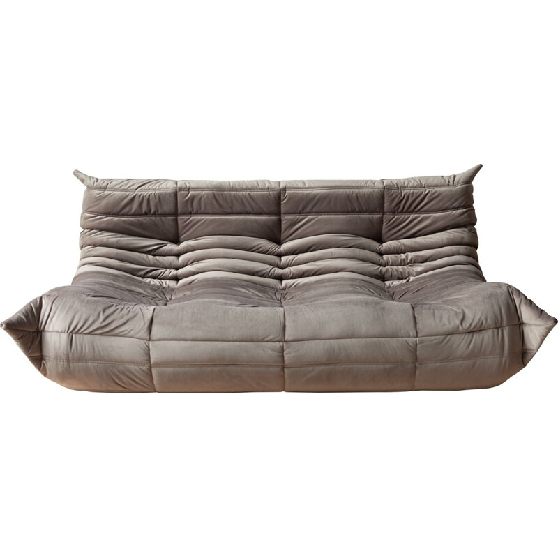 Togo 3-seater sofa in grey velvet by Michel Ducaroy