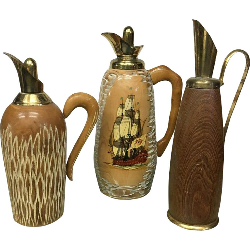 Set of 3 vintage pitchers for Macabo in wood and brass 1950s