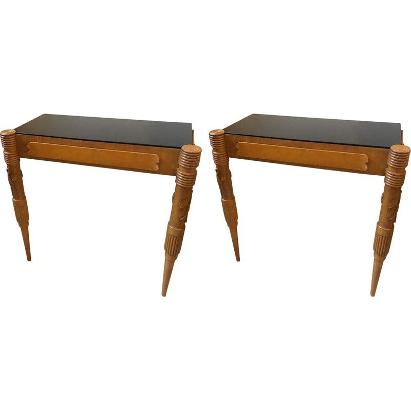 Set of 2 vintage console tables in marple woodand glass 1950s