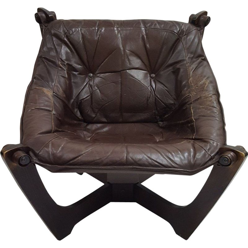 Vintage Luna Lounge Chair by Odd Knutsen in brown leather 1970s