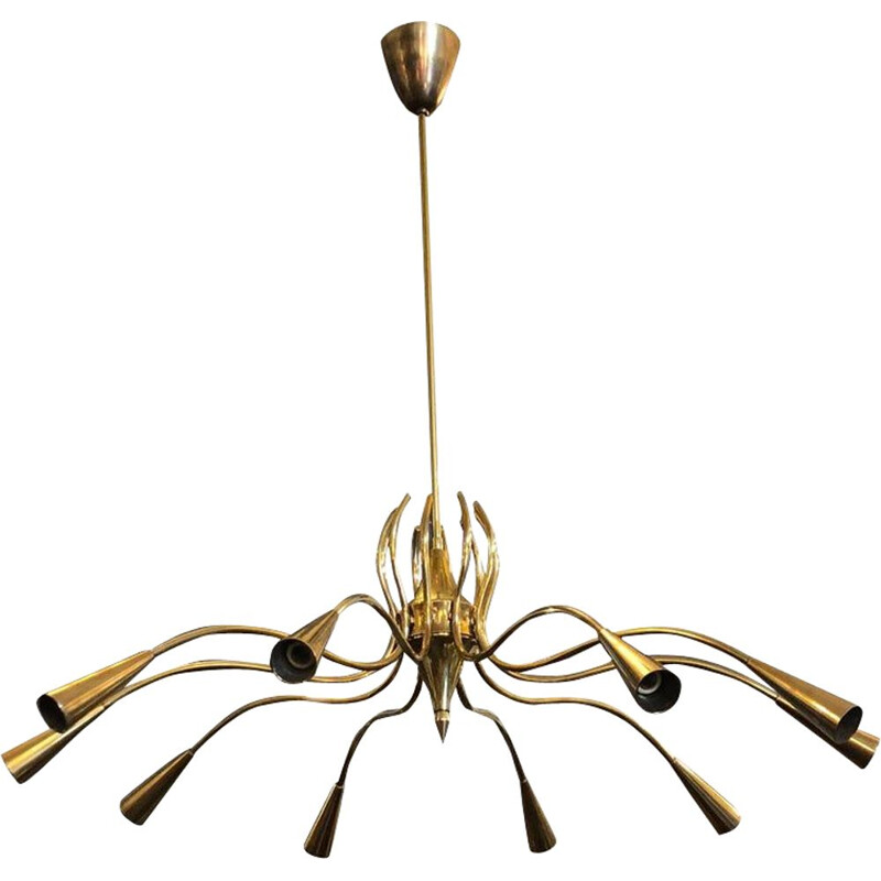 Vintage italian chandelier by Oscar Torlasco in brass 1950s