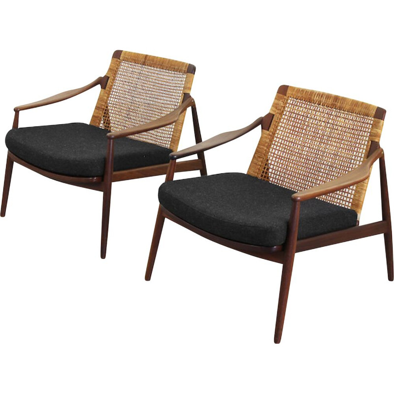 Pair of vintage armchairs for Wilkhahn in dark grey fabric and teakwood 1950s