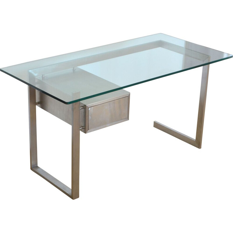 Vintage desk for DOM in glass and stainless steel 1970