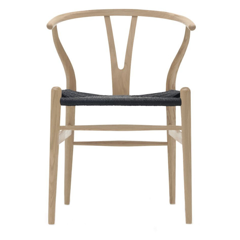 """Wishbone chair"" or ""CH24"" in black cord, by Hans J. Wegner for CARL HANSEN & SON"
