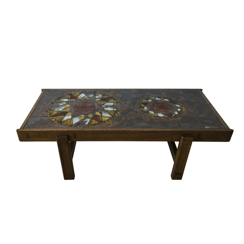Vintage coffee table in solid oakwood and ceramic, Juliette BERLATI - 1970s