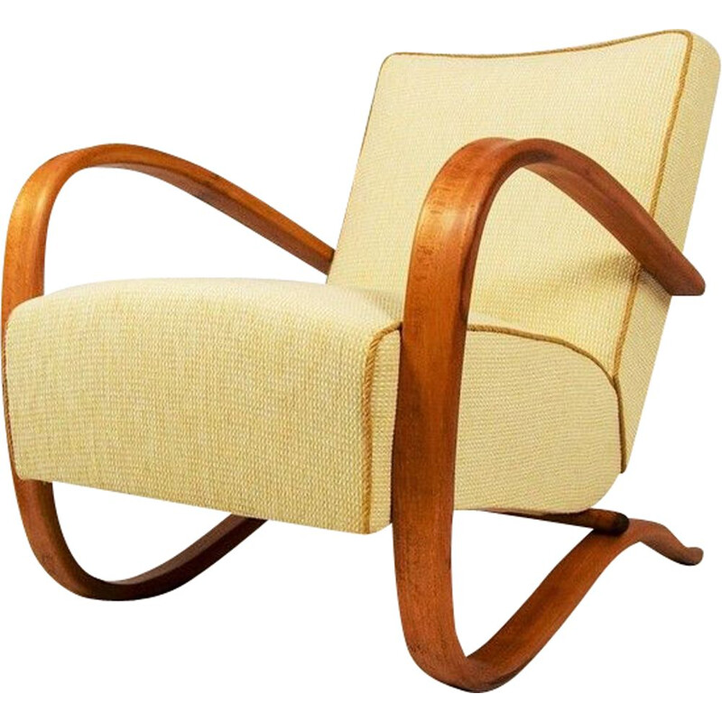 Vintage H-269 armchair by Jindrich Halabala in wood and fabric 1930s