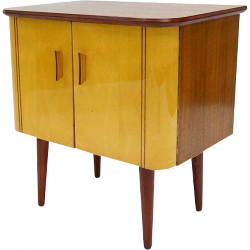Vintage lacquered wooden cabinet in mahogany and marple 1960s