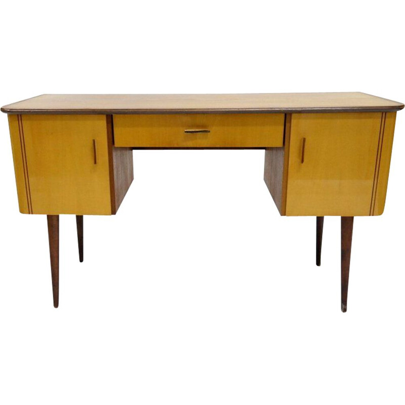 Vintage lacquered wood veneer desk 1960s